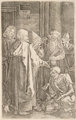 After Albrecht Dürer St. Peter and St. John Healing the Cripple (from The Engraved Passion series) (reversed) Engra...