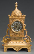 Decorative Arts, French:Other , A Louis XVI-Style Gilt Bronze Clock, second half 20th century.14-1/2 h x 9-1/2 w x 6 d inches (36.8 x 24.1 x 15.2 cm). ...(Total: 2 Items)