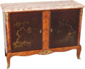 Furniture : Continental, A Louis XV-Style Chinoiserie-Decorated Walnut Cabinet with MarbleTop. 34 h x 45-1/2 w x 16-3/4 d inches (86.4 x 115.6 x 42....