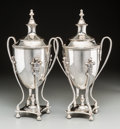 Silver Holloware, Continental:Holloware, A Pair of Silver-Plated Covered Urns, 20th century...