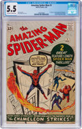Silver Age (1956-1969):Superhero, The Amazing Spider-Man #1 (Marvel, 1963) CGC FN- 5.5 Off-white to white pages....
