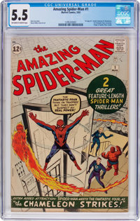 The Amazing Spider-Man #1 (Marvel, 1963) CGC FN- 5.5 Off-white to white pages