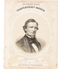 "Political:Small Paper (pre-1896), Jefferson Davis: ""Confederacy March"" Sheet Music...."