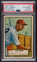 Autographs:Sports Cards, Signed 1952 Topps #74 Andy Hansen (Black Back) PSA/DNA Auto Grade Mint 9. ...