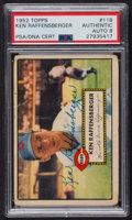 Autographs:Sports Cards, Signed 1952 Topps #118 Ken Raffensberger PSA/DNA Auto Grade NM-MT 8. ...