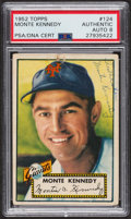 Autographs:Sports Cards, Signed 1952 Topps #124 Monte Kennedy PSA/DNA Auto Grade NM-MT 8. ...