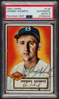 Autographs:Sports Cards, Signed 1952 Topps #136 Johnny Schmitz PSA/DNA Auto Grade NM-MT 8....