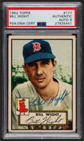 Autographs:Sports Cards, Signed 1952 Topps #177 Bill Wight PSA/DNA Auto Grade Mint 9.. ...