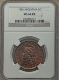 Argentina, Argentina: Republic 2 Centavos 1885 MS64 Red and Brown NGC,...