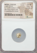 Ancients:Greek, Ancients: MYSIA. Cyzicus. Ca. 600-500 BC. EL twelfth stater orhemihecte (1.37 gm). NGC Choice XF 5/5 - 4/5....