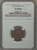 Indian Cents: , 1873 1C Open 3 XF40 NGC. NGC Census: (26/387). PCGS Population: (88/473). CDN: $140 Whsle. Bid for problem-free NGC/PCGS XF...