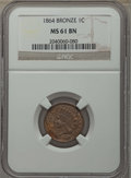 Indian Cents, 1864 1C Bronze No L MS61 Brown NGC. NGC Census: (18/394). PCGS Population: (3/435). CDN: $100 Whsle. Bid for problem-free N...