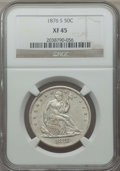 Seated Half Dollars: , 1876-S 50C XF45 NGC. NGC Census: (20/164). PCGS Population: (30/258). XF45. Mintage 4,528,000. ...