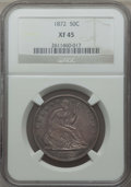 Seated Half Dollars: , 1872 50C XF45 NGC. NGC Census: (14/54). PCGS Population: (31/80). CDN: $200 Whsle. Bid for problem-free NGC/PCGS XF45. Mint...