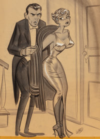 Bill Ward (American, 1919-1998) The More Money I Give You For Clothes, The Less You Wear! Charcoal a