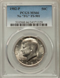Kennedy Half Dollars, 1982-P 50C No FG, FS-901, MS66 PCGS. PCGS Population: (58/2). NGC Census: (205/10). Mintage 10,819,000. ...