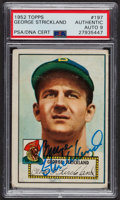 Autographs:Sports Cards, Signed 1952 Topps #197 George Strickland PSA/DNA Auto Grade Mint 9.. ...