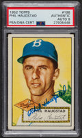 Autographs:Sports Cards, Signed 1952 Topps #198 Phil Haugstad PSA/DNA Auto Grade Mint 9....