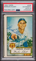 Autographs:Sports Cards, Signed 1952 Topps #208 Marlin Stuart PSA/DNA Auto Grade Mint 9. ...