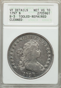 1797 $1 10x6 Stars, Large Letters, B-3, BB-71, R.2 -- Tooled, Repaired, Cleaned -- ANACS. VF Details, Net VG10....(PCGS#...