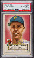 Autographs:Sports Cards, Signed 1952 Topps #236 Ed Fitz Gerald PSA/DNA Auto Grade Mint 9. ...