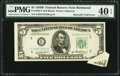 Error Notes:Attached Tabs, Butterfly Fold Error Fr. 1963-E $5 1950B Federal Reserve Note. PMGExtremely Fine 40 EPQ.. ...