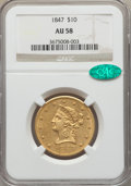 Liberty Eagles, 1847 $10 AU58 NGC. CAC....