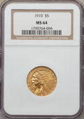 Indian Half Eagles, 1910 $5 MS64 NGC....