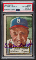 Autographs:Sports Cards, Signed 1952 Topps #294 Walker Cooper PSA/DNA Auto Grade Mint 9. ...