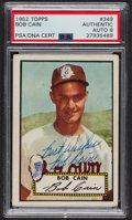 Autographs:Sports Cards, Signed 1952 Topps #349 Bob Cain PSA/DNA Auto Grade Mint 9. ...