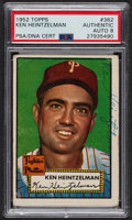 Autographs:Sports Cards, Signed 1952 Topps #362 Ken Heintzelman PSA/DNA Auto Grade NM-MT 8....