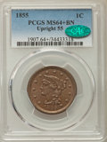 Large Cents: , 1855 1C Upright 55, MS64+ Brown PCGS. CAC. PCGS Population: (141/67 and 4/7+). NGC Census: (105/109 and 0/0+). MS64. Mintag...