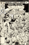 Original Comic Art:Covers, George Pérez and Joe Sinnott Marvel Two-In-One #52 Cover Thing and Moon Knight Original Art (Marvel, 1979)....