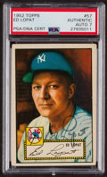 Autographs:Sports Cards, Signed 1952 Topps #57 Ed Lopat PSA/DNA Auto Grade NM 7....