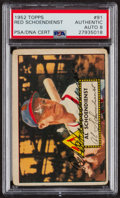 Autographs:Sports Cards, Signed 1952 Topps #91 Red Schoendienst PSA/DNA Auto Grade NM-MT 8....