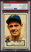 Autographs:Sports Cards, Signed 1952 Topps #150 Ted Beard PSA/DNA Auto Grade NM-MT 8....
