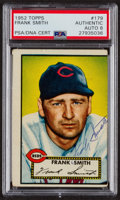 Autographs:Sports Cards, Signed 1952 Topps #179 Frank Smith PSA/DNA Auto Grade NM-MT 8.. ...