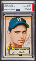 Autographs:Sports Cards, Signed 1952 Topps #190 Don Johnson PSA/DNA Auto Grade NM-MT 8. ...