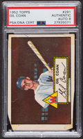 Autographs:Sports Cards, Signed 1952 Topps #291 Gil Coan PSA/DNA Auto Grade NM-MT 8....
