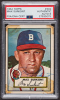 Autographs:Sports Cards, Signed 1952 Topps #302 Max Surkont PSA/DNA Auto Grade NM-MT 8. ...