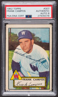 Autographs:Sports Cards, Signed 1952 Topps #307 Frank Campos PSA/DNA Auto Grade NM-MT 8. ...