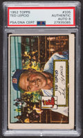 Autographs:Sports Cards, Signed 1952 Topps #335 Ted Lepcio PSA/DNA Auto Grade NM-MT 8. ...