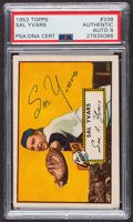 Autographs:Sports Cards, Signed 1952 Topps #338 Sal Yvars PSA/DNA Auto Grade NM-MT 8. ...
