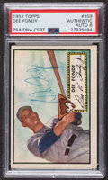 Autographs:Sports Cards, Signed 1952 Topps #359 Dee Fondy PSA/DNA Auto Grade NM-MT 8. ...