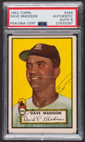 Autographs:Sports Cards, Signed 1952 Topps #366 Dave Madison PSA/DNA Auto Grade NM-MT 8. ...
