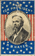 Political:Ferrotypes / Photo Badges (pre-1896), Rutherford B. Hayes: Rarely-offered Lithographed Tin Portrait Badge....