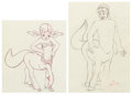 Animation Art:Production Drawing, Fantasia Brudus and Melinda Animation Drawings Group of 2(Walt Disney, 1940). ...