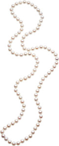 Estate Jewelry:Necklaces, Cultured Pearl, White Metal Necklace . ...
