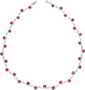 Estate Jewelry:Necklaces, Ruby, Diamond, White Gold Necklace. ...
