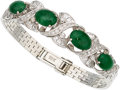 Estate Jewelry:Bracelets, Jadeite Jade, Diamond, White Gold Bracelet. ...